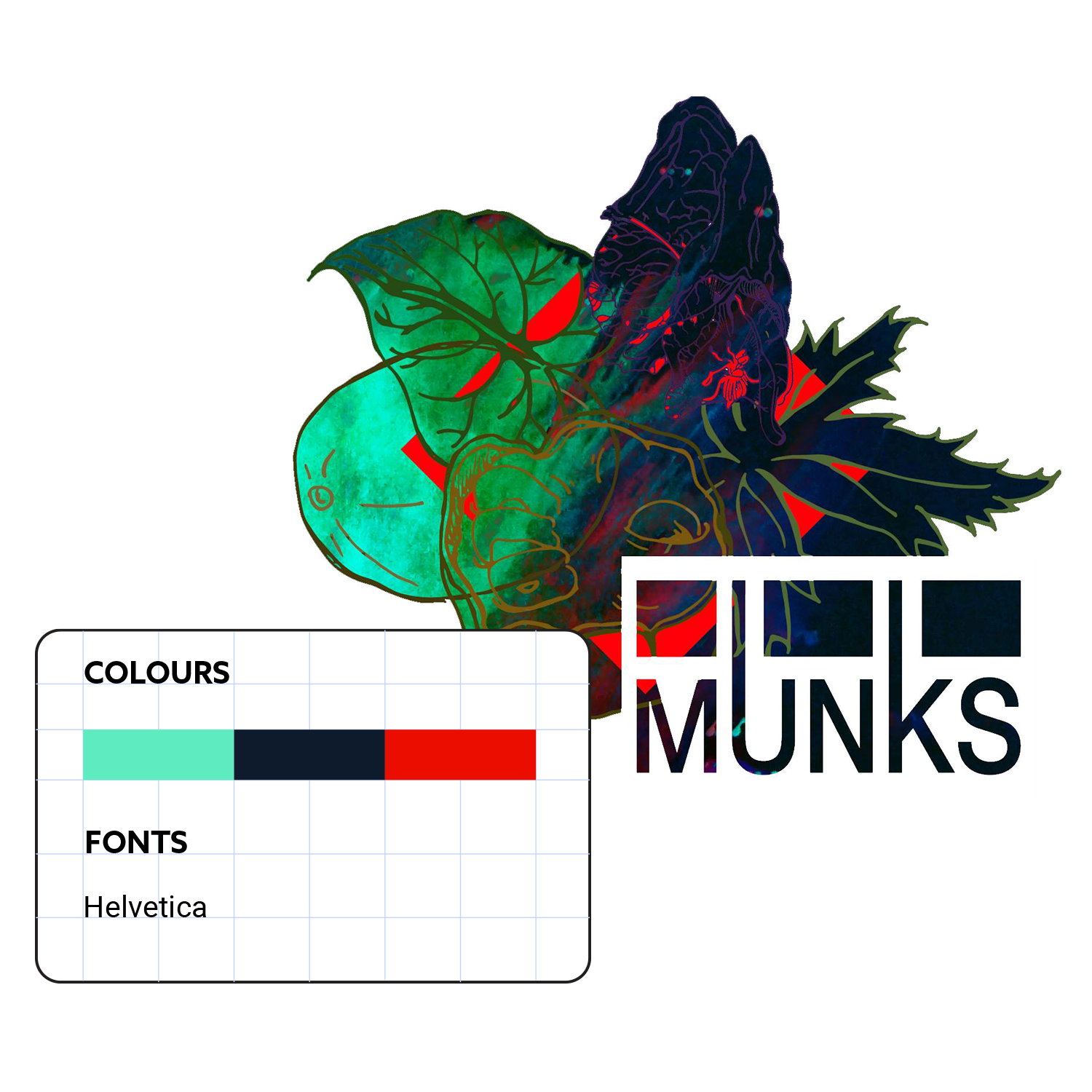 Munks EP cover art, colours and fonts by Studio Foyne